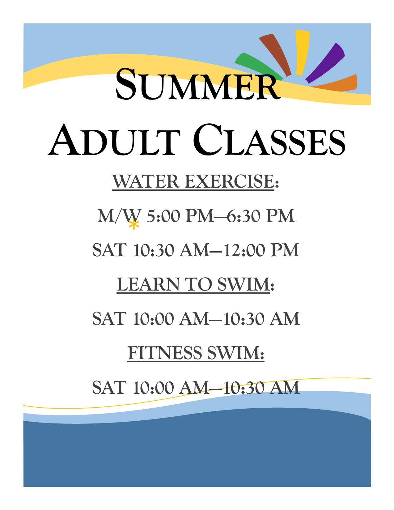 Adult Classes 2018
